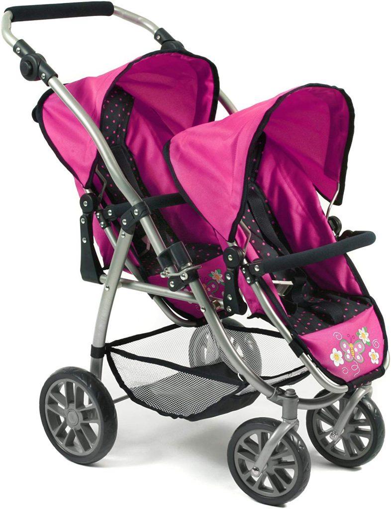 Il passeggino doppio per bambole bayer chic può ospitare 2 bambini.