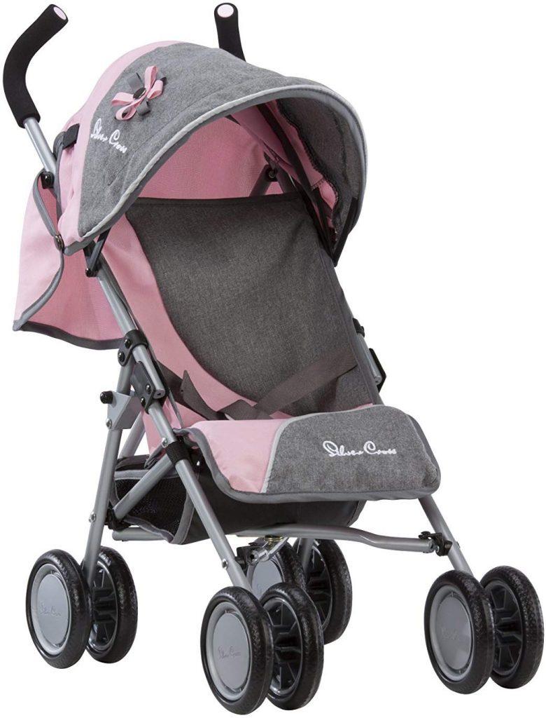 Il passeggino giocattolo Silver Cross è disponibile nei colori grigio e rosa.